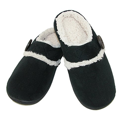 Womens Microsuede Clog (Dearfoams Women's Microsuede Clog With Quilted Cuff, Black, XLarge)