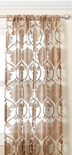 Regal Home Collections Milawi 54 by 84-Inch Sheer Jacquard Scroll Rod Pocket Window Panel, 54 by 84-Inch, Brown (Regal Collection Curtain Rod)