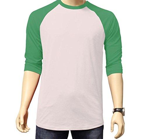 Men's Plain Athletic 3/4 Sleeve Baseball Sports T-Shirt Raglan Shirt S-XL Team Jersey White Kelly Green - Fashion Tone Two Embroidery