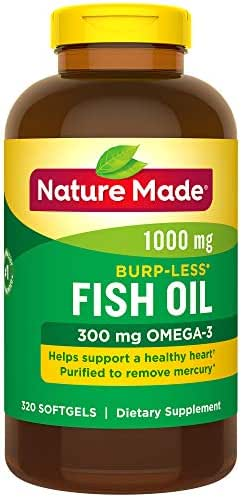 Nature Made Burp-Less Fish Oil 1000 mg Softgels, 320 Count for Heart Health† (Packaging May Vary)