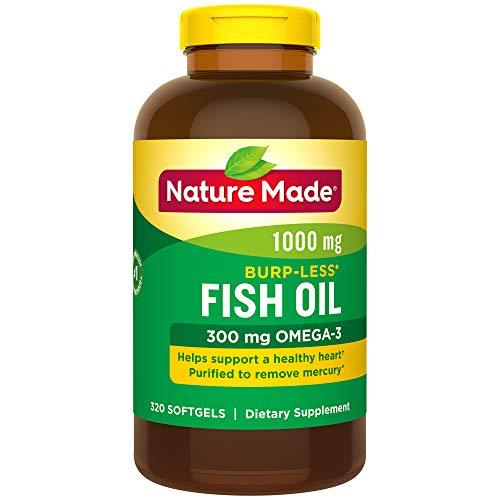 Nature Made Burpless Fish Oil 1000 mg w. Omega-3 300 mg Softgels Mega Size 320 Ct