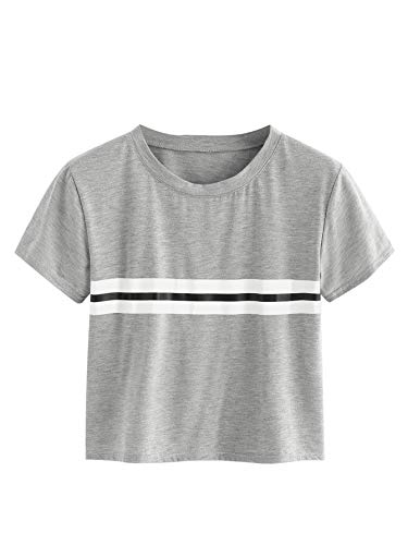 SweatyRocks Women's Summer Casual Short Sleeve Stripe Printed Crop Top Tee Shirt Grey L