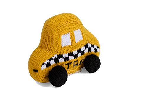Estella Hand Knit Soft Organic Cotton Baby Rattle Toy, Taxi by Estella, Designed for Children