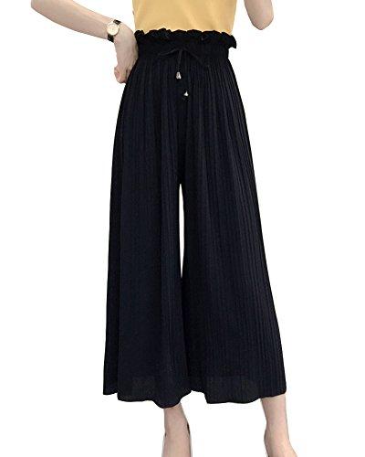 Pantaloni Eleganti Baggy Estivi Palazzo Donna Cintura Chiffon Nero Vita Di Elasticizzata Alta Larghi Casual rAnXBIrq