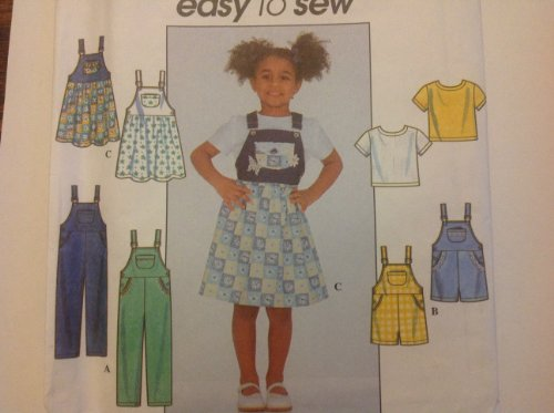 Simplicity Sewing Pattern 8159 for Girls 5-6-7-8 Bib Strap Overalls Shortalls Jumper with Top ()