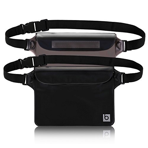 Waterproof Pouch with Waist Strap (2 Pack)   Best Way to Keep Your Phone and Valuables Safe and Dry   Perfect for Boating Swimming Snorkeling Kayaking Beach Pool Water Parks
