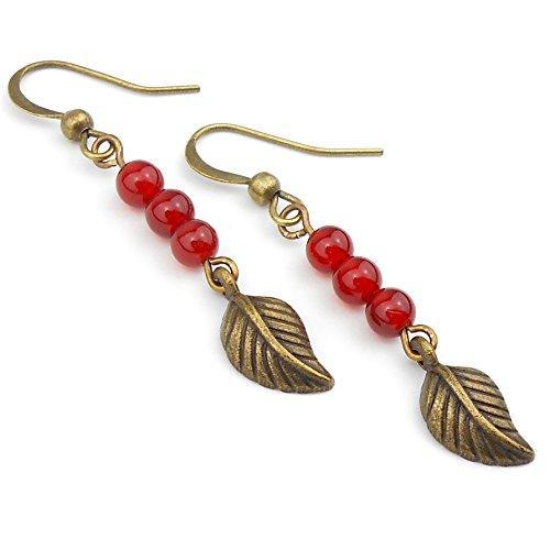 Red Carnelian Long Drop Leaf Earrings in Antique Bronze, includes Gift Box