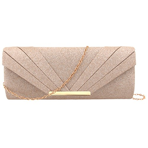 Gabrine Womens Evening Envelop Bag Handbag Clutch Purse Shiny Sequins Fabric Material for Wedding Party Prom(Rose Gold) by Gabrine