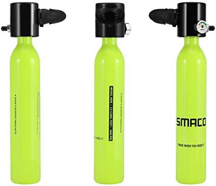 SMACO Equipo de Ox/ígeno para Bucear Bombona Oxigeno Portatil Mini Botella de Buceo de 1 litro con Capacidad de 15-20 Minutos Buceo De Ox/ígeno del Mini Tanque Respiraci/ón Bajo El Agua del Dispositivo