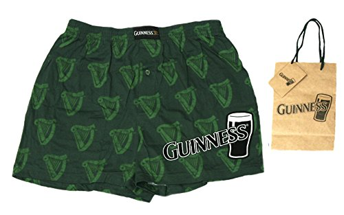 Guinness Mens Beer Boxer Set Combo With Gift Bag (Green, M)