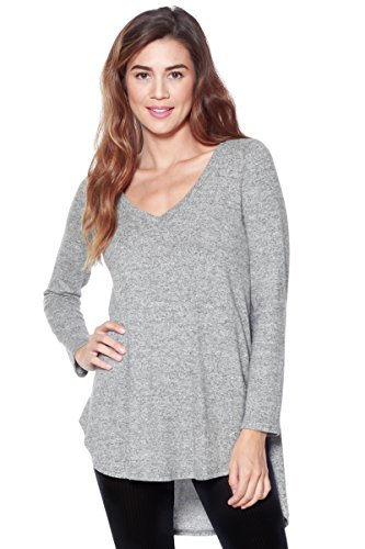 A+D Womens V-Neck Brushed Pullover Sweater Top W Hi-Low (Heather Grey, Large)