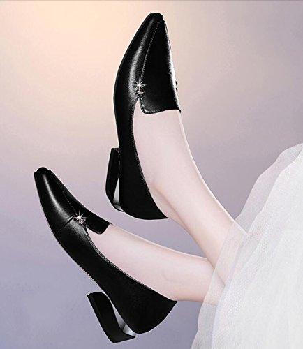 Fashion Lederschuhe Korean Grob Casual Damenschuhe MUYII Sommer Für Schuhe Frühling Heel qI80vxIw