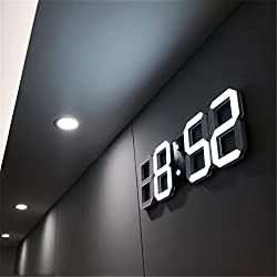 Led Digital Wall Clock Large Display 3D Silent Multifunctional with Remote Control, Temperature, Count up, Calendar, Alarm Clock (Black Shell White Digital)
