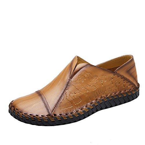 Lisianthus Mens Kausal Slip På Körningen Läder Loafers Ljusbrun