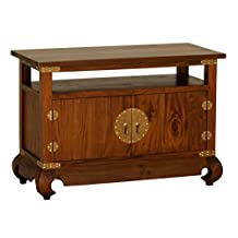 "NES Furniture can10213 Fine Handcrafted Solid Mahogany Wood Ming TV Stand, 61"", Light Pecan"