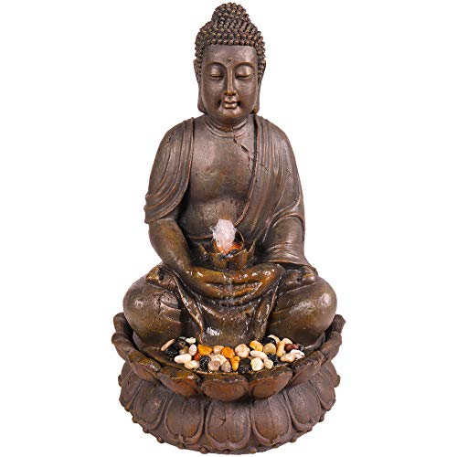 Alpine Corporation Meditating Buddha Fountain - Outdoor Decor for Garden, Patio, Deck, Porch - Yard Art Decoration
