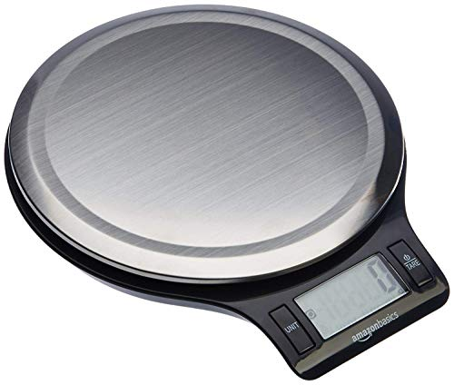 AmazonBasics Stainless Steel Digital Kitchen Scale with LCD Display, Batteries Included