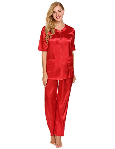 8ed6d8f59a Ekouaer Pajamas Womens Satin Half Sleeve Shirt and Pants Sleepwear Button  Front PJ Set With Pocket M-XXL