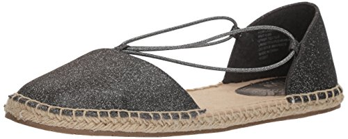 Kenneth Cole REACTION Women's How Laser Flat Elastic Straps Espadrille Wedge Sandal, Pewter, 9 M US