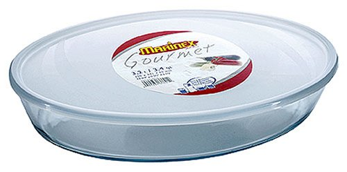 Marinex Bakeware Oval Glass Roaster with Plastic Lid, 3.4-Quart