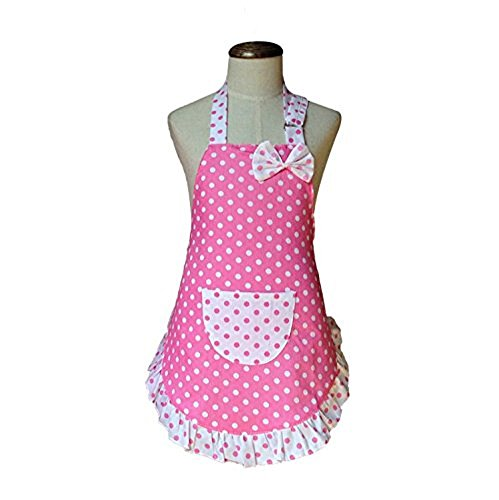 EBS Child's Chef Apron Set Kid Apron Polka Dot Cotton Kitchen Cooking and Baking Wear Kit Adjustable (Adult (66x79cm), (Young Adult Apron)