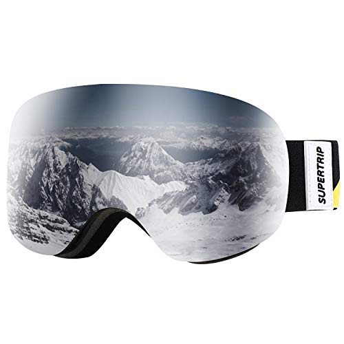 Supertrip Kids Ski Goggles Boys & Girls Over The Glasses Anti Fog Snow Snowboard Goggles UV Protection Helmet Compatible Non-Slip Strap Double Lens for 7-13 Year Children