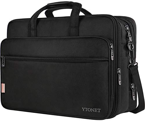 Leather Expandable Soft Briefcase - 18 Inch Laptop Bag, Extra Large Briefcase for Men Women, Expandable Multifunctional Laptop Case, Water Resistant Computer Bags Fit 18 17.3 Inches Gaming Laptop, Notebook for Business Travel, Black