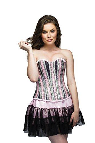 テレビ局隔離する貝殻Pink Satin Black Silver Sequins Goth Burlesque Waist Cincher Overbust Corset Top