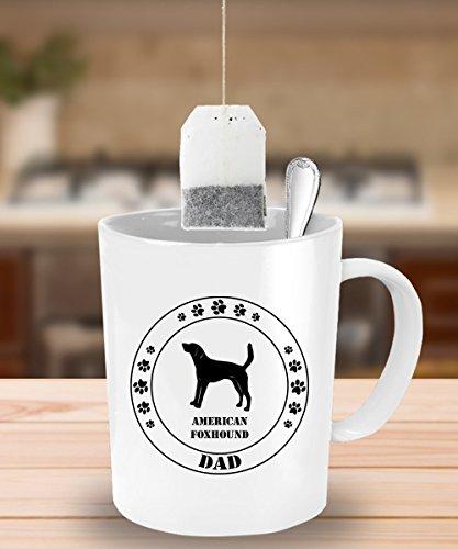 American Foxhound Dog Dad Gift - White Coffee Mug - 15 oz Novelty Tea Cup - Ceramic