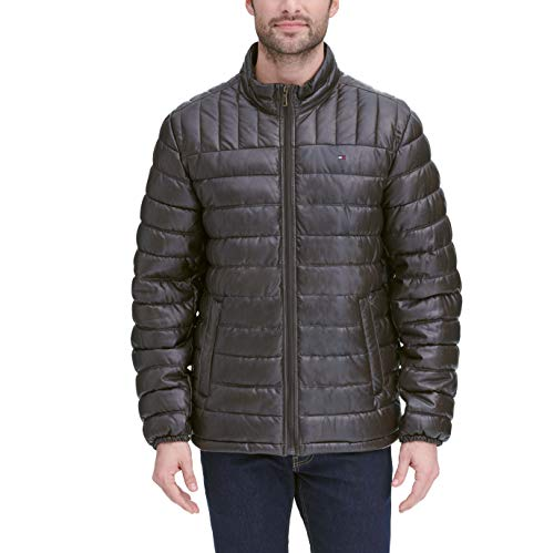 Tommy Hilfiger Men's Big and Tall Lightweight Quilted Faux Leather Puffer Jacket, Saddle, 2X