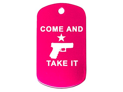 Come and Take It Handgun Pistol Pink Dog Tag Military ID K9 Custom Laser Engraved By Ndz Performance