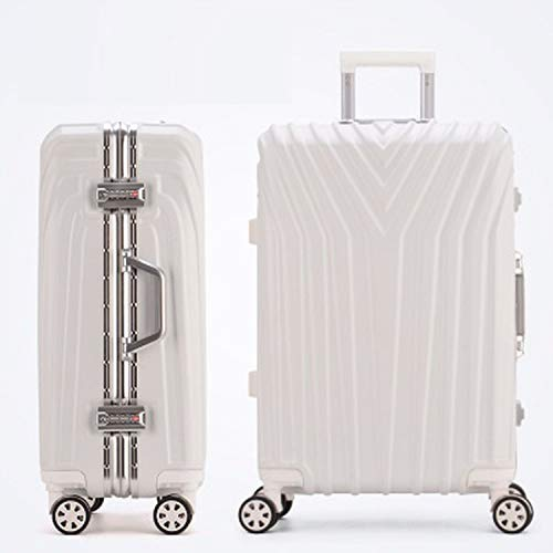 (New Aluminum Frame Rolling Luggage Women Travel Bag Trolley Suitcase Carry On Luggage,White,26)