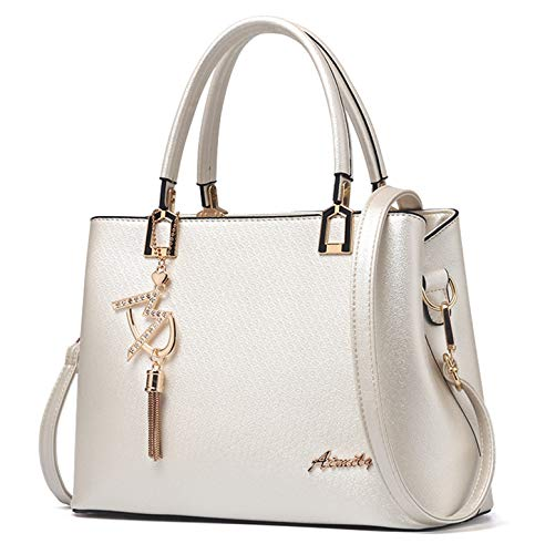 JHVYF Casual Top Handle Handbag Purse Tote Pu Leather Shoulder Bags Women #W Beige from JHVYF