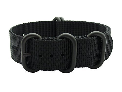 HNS ZULUPATH 22mm Black Heavy Ballistic Nylon Watch Strap 5 PVD Coated Stainless Steel Ring ZU063
