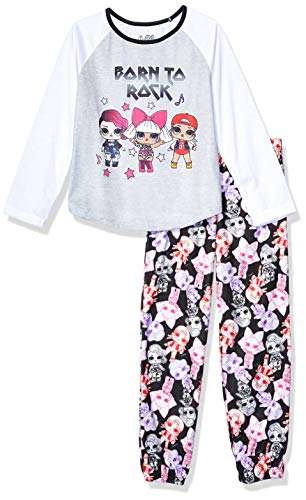 L.O.L. Surprise! Girls' Big 2-Piece Pajama Set, Rock On Black, 8