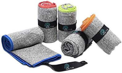 "Acteon Microfiber Gym Towels - Quick Dry Antibacterial Workout Towel - Fights Odors - Compact Sports Towel for Workout, Travel, Camping - Ultra Lightweight Sweat Towel - 5-Pack Heather Gray - 30""x16"""