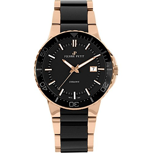 Pierre Petit Men's P-807C Serie Colmar Black Ceramic and Rose-Gold PVD Stainless-Steel Watch