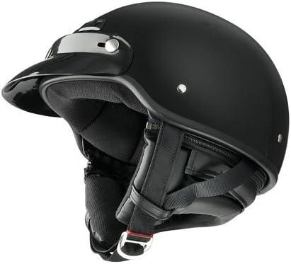 Raider Deluxe Half Helmet (Gloss Black, Small)