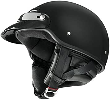 Thermoplastic Shell Large Adult Deluxe Flat Black Half Helmet Rubber Bead Trim