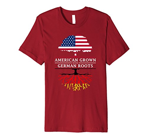 Men's American Grown with German Roots T-Shirt - Germany Shirt 3XL Cranberry