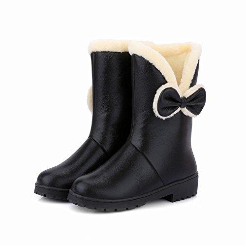 Show Shine Mujeres Cute Bows Plataforma De Tacón Medio Warm Snow Botas Black