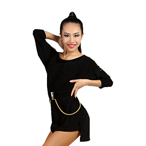 Belt Batwing (GloriaDance G1034 Latin Dance Practice/Training and Race/Performance Batwing Sleeve Loose and Comfortable Tops provided (one Shorts and one Black Tassels Belt for Free) (Free-Size, Black))