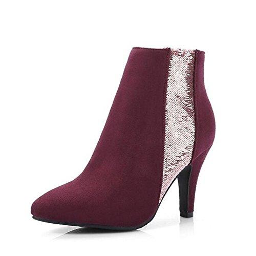 WIKAI Damen Stiefel Party Mode Stiefel Winter Fleece Kleid Hochzeit Party Stiefel & Abend Büro & Karriere Stiletto Heel schwarz Ruby 2-in-2 3/4 in ROT c86a0b