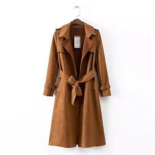 Revers avec daim de v la femme Trench manteau ceinture Coat XYLUCKY T1wf4
