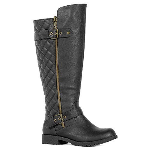 RF ROOM OF FASHION Wide Calf Knee High Hidden Pocket Riding Boots Black PU (11) (Black Quilted Wide Calf Boots)
