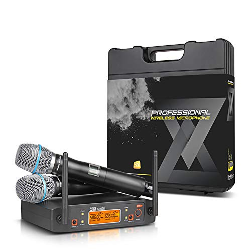 XTUGA GLXD8 Rocket Audio UHF Microphone System with Carry case 2 Metal handhled MIC Box for Stage Church Use for Family Party, Church, Small Karaoke Night - Mada Equipment