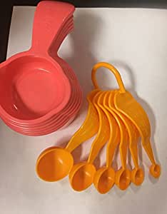 Tupperware Measuring Cups and Spoons set in Guava/Papaya