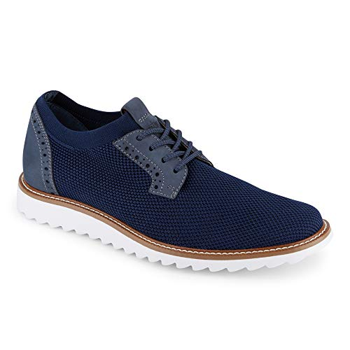 Dockers Mens Einstein Knit/Leather Smart Series Dress Casual Oxford Shoe with NeverWet, Navy, 11.5 M - Mens Oxford Casual Shoes