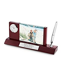 Things Remembered Personalized Mahogany Silver Photo Clock Pen Stand with Engraving Included