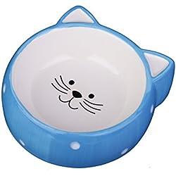 MushroomCat Pet Ceramic Bowl Personalized Cute Dog Food Cat Food Water Dishes Blue